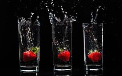 чёрный, ягоды, стаканы, капли, стенло, брызги, фон, вода