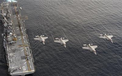 море, десантный корабль, ВМФ США, истребители, Ф-35, USS America, LHA 6, F-35B