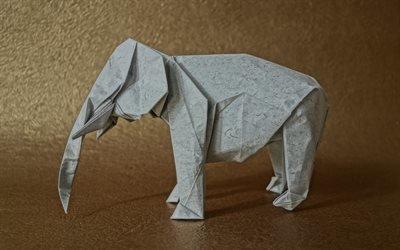 бумажный слон, оригами, животные из бумаги, слон оригами