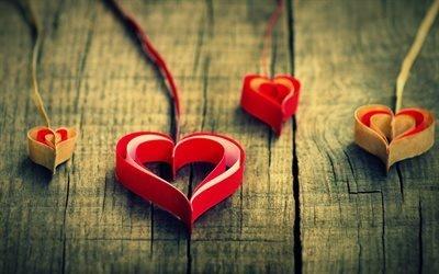 сердечка, любовь, сердца из бумажных лент