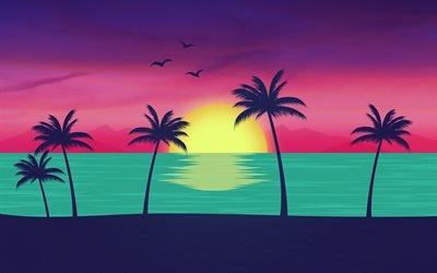 пляж, море, мальмы, закат, абстракция
