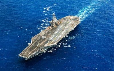 американский атомный авиаонец, USS Harry S Truman, ВМС США, океан, вид сверху, CVN-75
