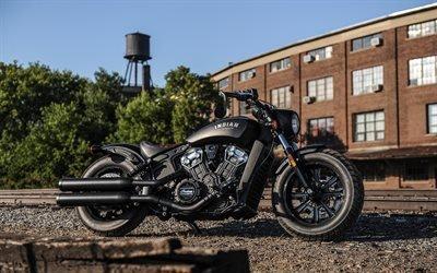 роскошный черный мотоцикл, бобер, супербайк, 2018, Indian Scout Bobber