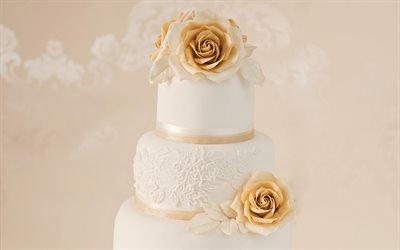 свадебный торт, украшение цветами, свадьба, многоэтажный торт, белый крем