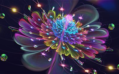 3d, графика, абстракция, фрактал, цветок, неон, свет