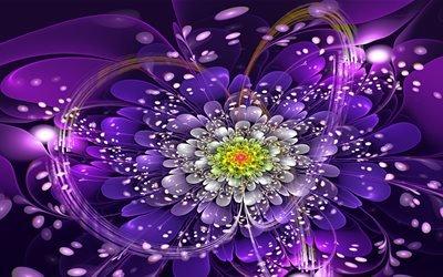 графика, абстракция, цветок, лепестки, боке