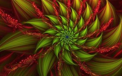 3d, графика, абстракция, цветок