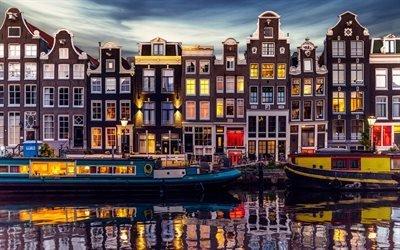 Амстердам, дома, баржа, канал, Нидерланды, Голландия