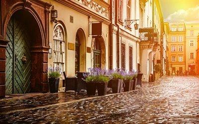 Старый квартал, булыжная мостовая, Краков, Польша