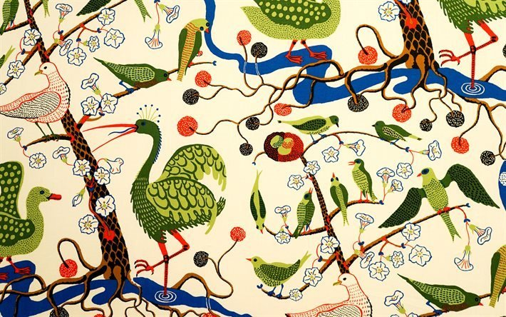 Деревья, Птицы, Текстуры, Шведский текстиль