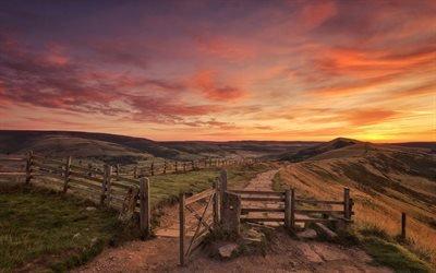 Рассвет, Дорога, Пикский район, Дербишир, Англия, Dawn, Derbyshire, England