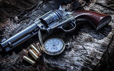 револьвер, пули, патроны, HDR, старые часы