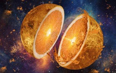 апелисин, арт, апельсиновый мок, креатив, космос