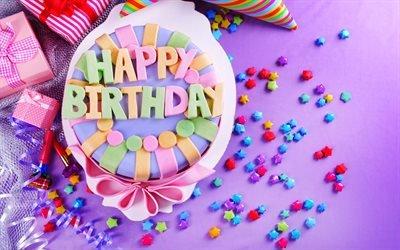 З Днем Народження, святковий торт, подарунки, С Днем Рождения, праздничный торт, подарки, бумажный колпак