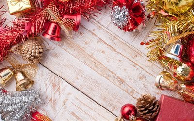 Новий Рік, світлі дерев'яні дошки, новорічні кульки, Різдво, Новый Год, светлые деревянные доски, новогодние шарики, Рождество