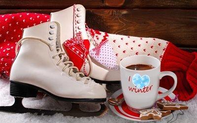 зима, снег, ботинки, коньки, свитер, чашка, напиток, печенье, стена, доски