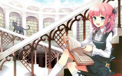 shape, библиотека, перила, форма, книга, railing, лестница, staircase, girl, library, девочка, book