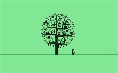 cat, минимализм, minimalism, дерево, tree