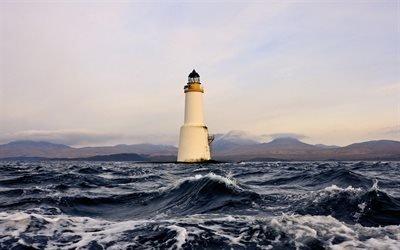 море, маяк, свет, буря
