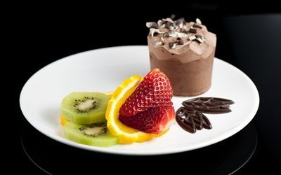 шоколад, десерт, фрукты
