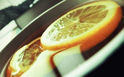 чай, лимон, лёд