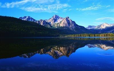 озеро, гора, лес