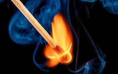 Воспламенение, спичка, огонь, момент, искра, сірник