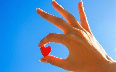 рука, небо, сердечко