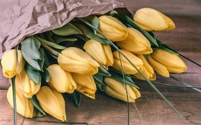 желтые тюльпаны, букет цветов, тюльпаны, весна, весенние цветы