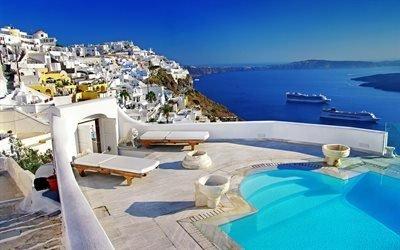 Санторини, Греция, курорт, лето, море