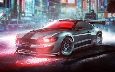 Форд Мустанг, арт, суперкары, ночь, тюнинг, Ford Mustang