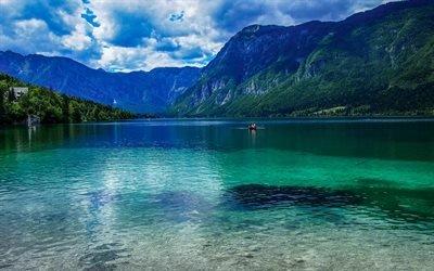 Словения, озеро, лодка, лето, горы