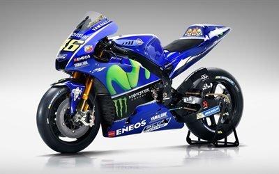 гоночный мотоцикл, Movistar, Yamaha YZR M1, 2017, Ямаха, MotoGP, 4K обои