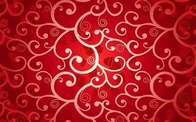 Текстуры, Узоры, Сердечки, Красный