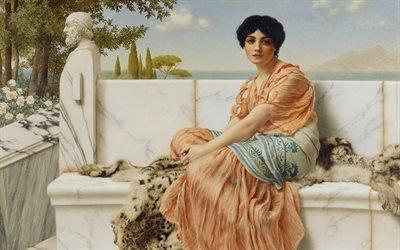 Джон Уильям Годвард, John William Godward, британский художник, Reverie, Мечтательность, 1904