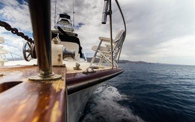 яхта, море, волны, небо, облака