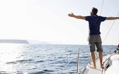 спорт, яхта, вода, море, мужчина