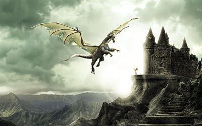 3d, графика, фэнтази, замок, девушка, дракон, башни, горы