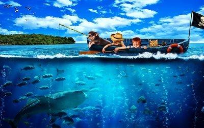 3d, графика, лодка, дети, вода, рыбы, небо, птицы, флаг