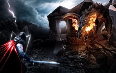 3d, графика, фэнтази, рыцарь, дракон, битва, поединок, камни, развалины