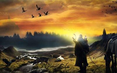 3d, графика, пейзаж, природа, человек, путник, животные, лошадь, птицы, собака, леса, замок