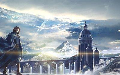 девушка, арт, горы, пейзаж, мост, башня, girl, art, mountains, landscape, bridge, tower