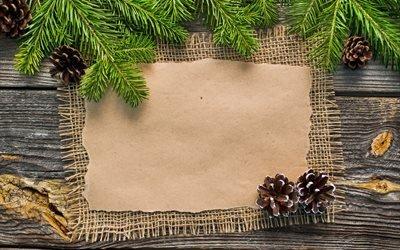 праздник, рождество, новый год, оформление, доски, ветки, ель, ёлка, мешковина, бумага, шишки