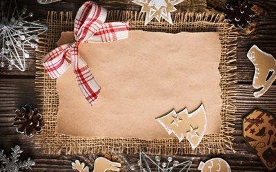 праздник, Рождество, новый год, оформление, доски, шишки, мешковина, бумага, бант, украшения