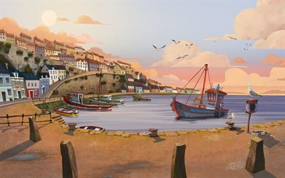 Бухта, Чайки, Рыбацкая лодка, Bay, Gulls, Fishing Boat