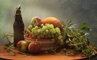 натюрморт, столик, корзинка, фрукты, ягоды, дыня, яблоки, виноград, листья, плющ, бутылка