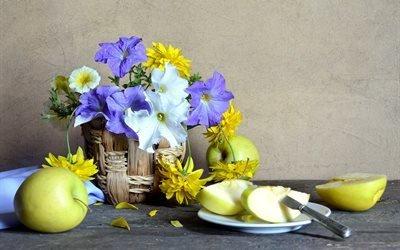 кашпо, цветы, тарелка, яблоки, нож, лепестки