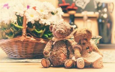 игрушки, мишки, корзина, цветы