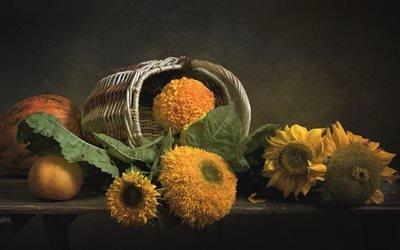 натюрморт, корзина, цветы, подсолнухи, овощи, тыквы