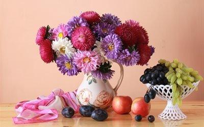 натюрморт, кувшин, цветы, сливы, виноград, яблоки, букет, астры, вазочка, ткань, платок